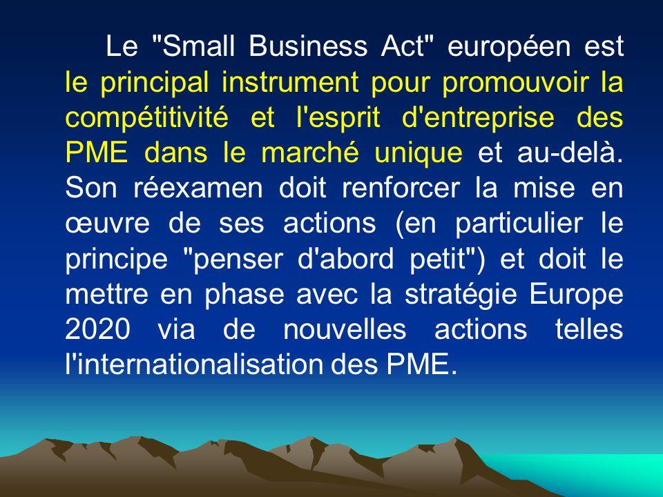 Le Small Business Act européen est le principal instrument pour promouvoir la compétitivité et l esprit d entreprise des PME dans le marché unique et au-delà.