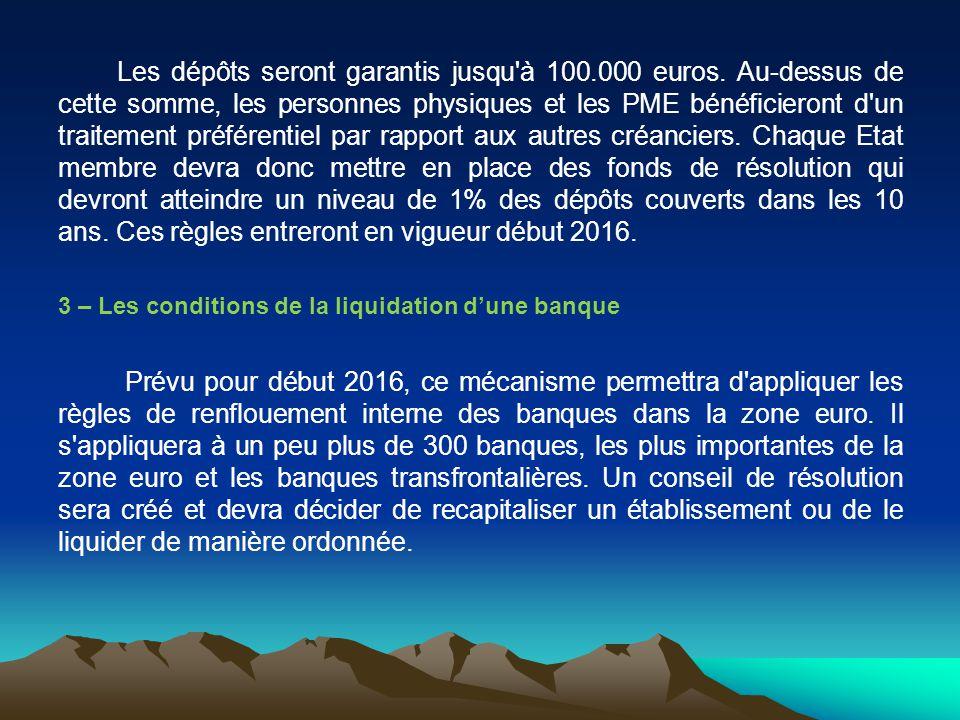 Les dépôts seront garantis jusqu à 100. 000 euros