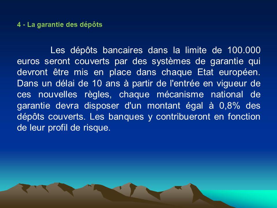 4 - La garantie des dépôts