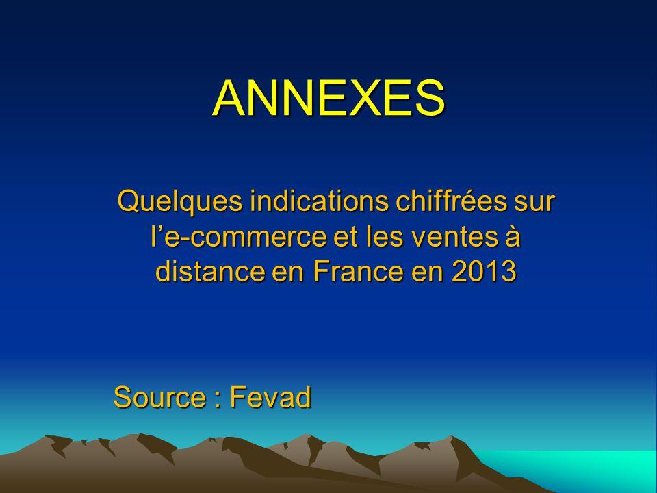 ANNEXES Quelques indications chiffrées sur l'e-commerce et les ventes à distance en France en 2013.