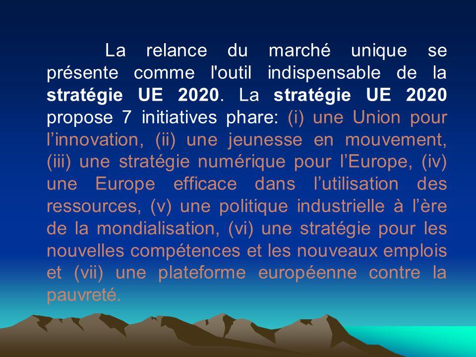 La relance du marché unique se présente comme l outil indispensable de la stratégie UE 2020.