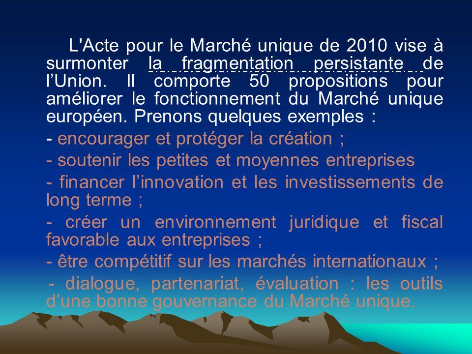 L Acte pour le Marché unique de 2010 vise à surmonter la fragmentation persistante de l'Union. Il comporte 50 propositions pour améliorer le fonctionnement du Marché unique européen. Prenons quelques exemples :