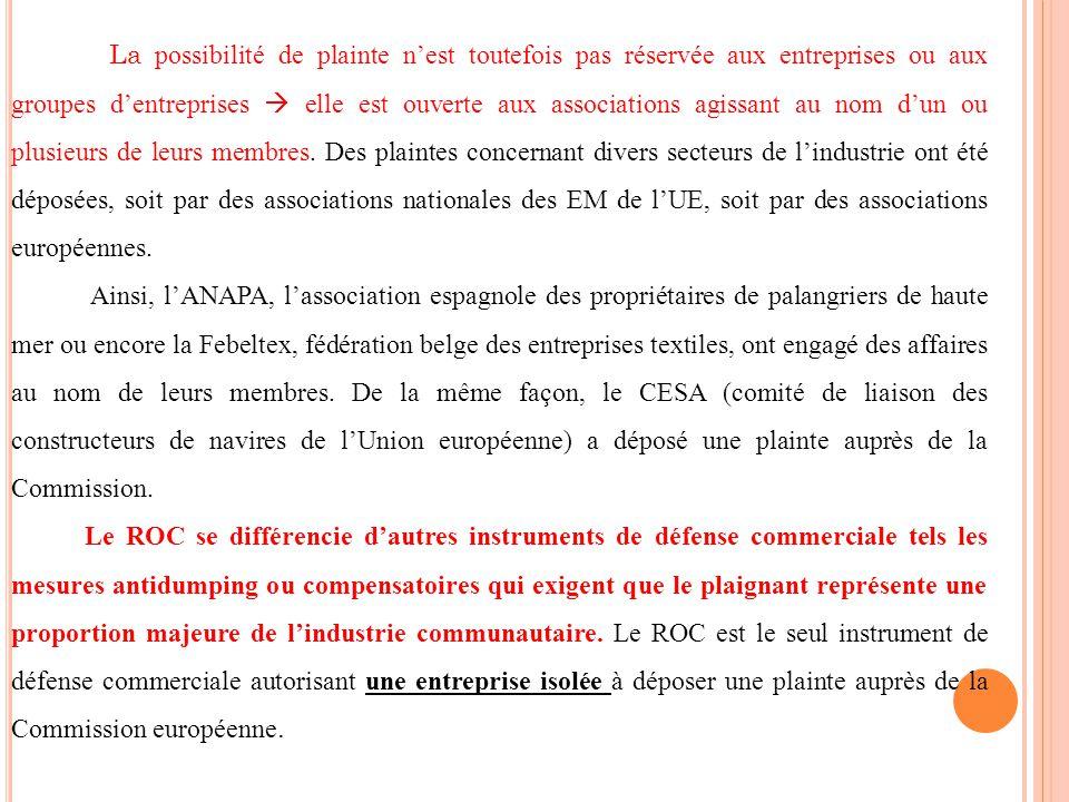 La possibilité de plainte n'est toutefois pas réservée aux entreprises ou aux groupes d'entreprises  elle est ouverte aux associations agissant au nom d'un ou plusieurs de leurs membres. Des plaintes concernant divers secteurs de l'industrie ont été déposées, soit par des associations nationales des EM de l'UE, soit par des associations européennes.