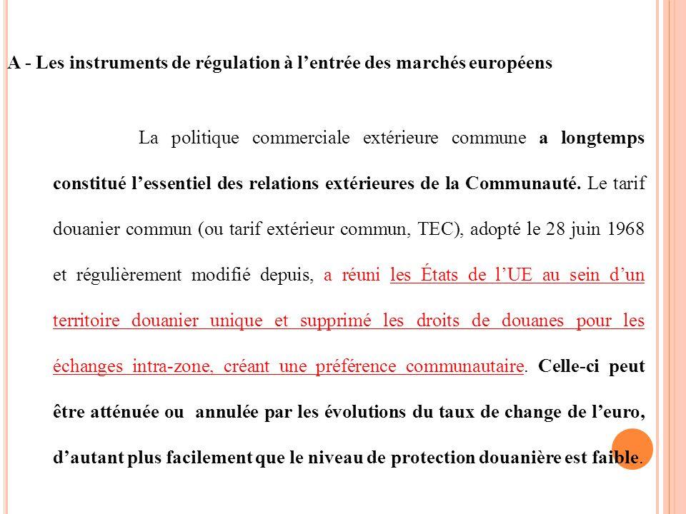 A - Les instruments de régulation à l'entrée des marchés européens