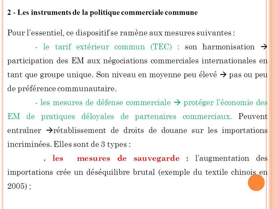 2 - Les instruments de la politique commerciale commune