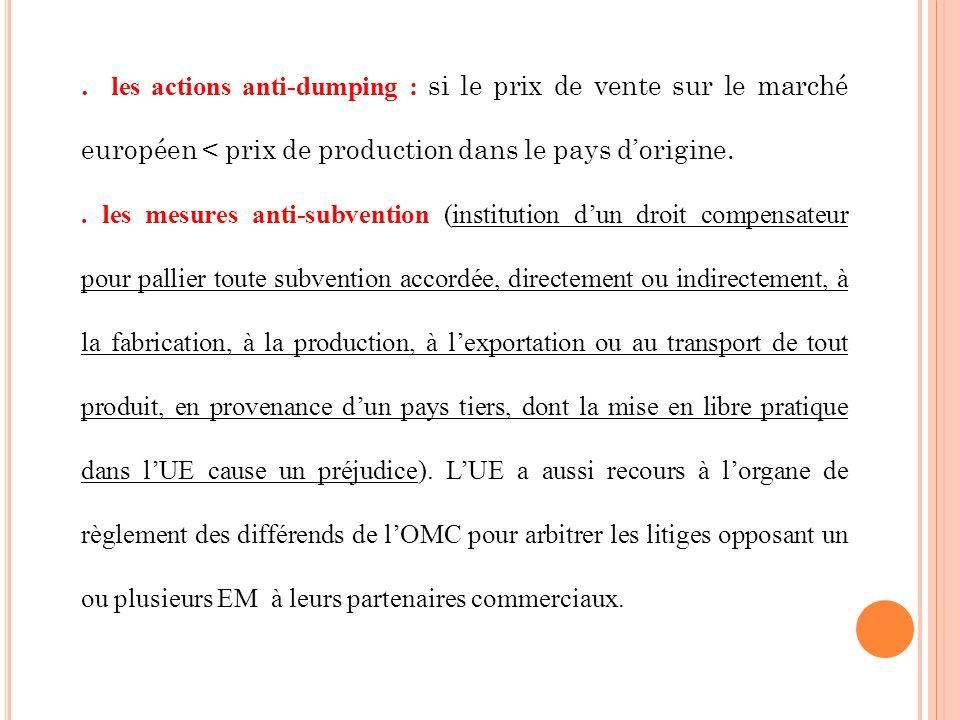 . les actions anti-dumping : si le prix de vente sur le marché européen < prix de production dans le pays d'origine.