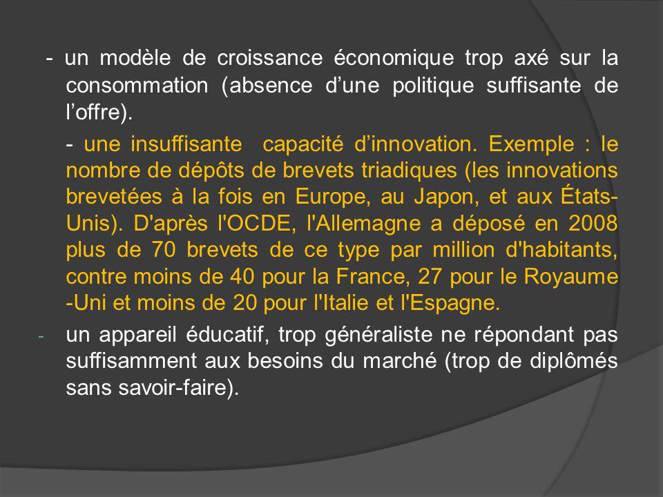 - un modèle de croissance économique trop axé sur la consommation (absence d'une politique suffisante de l'offre).