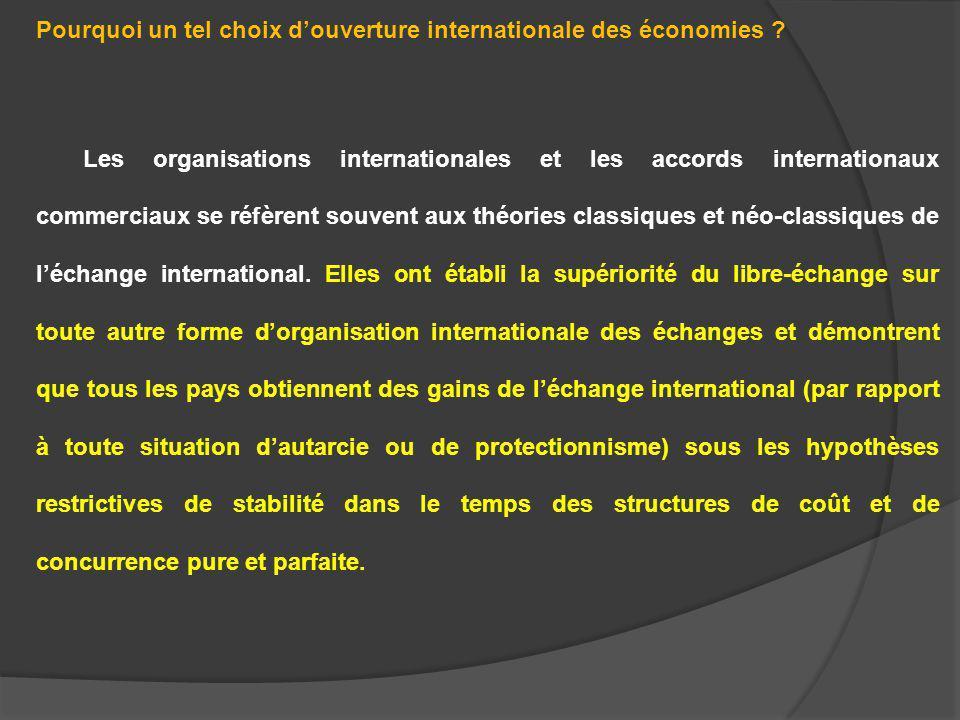Pourquoi un tel choix d'ouverture internationale des économies
