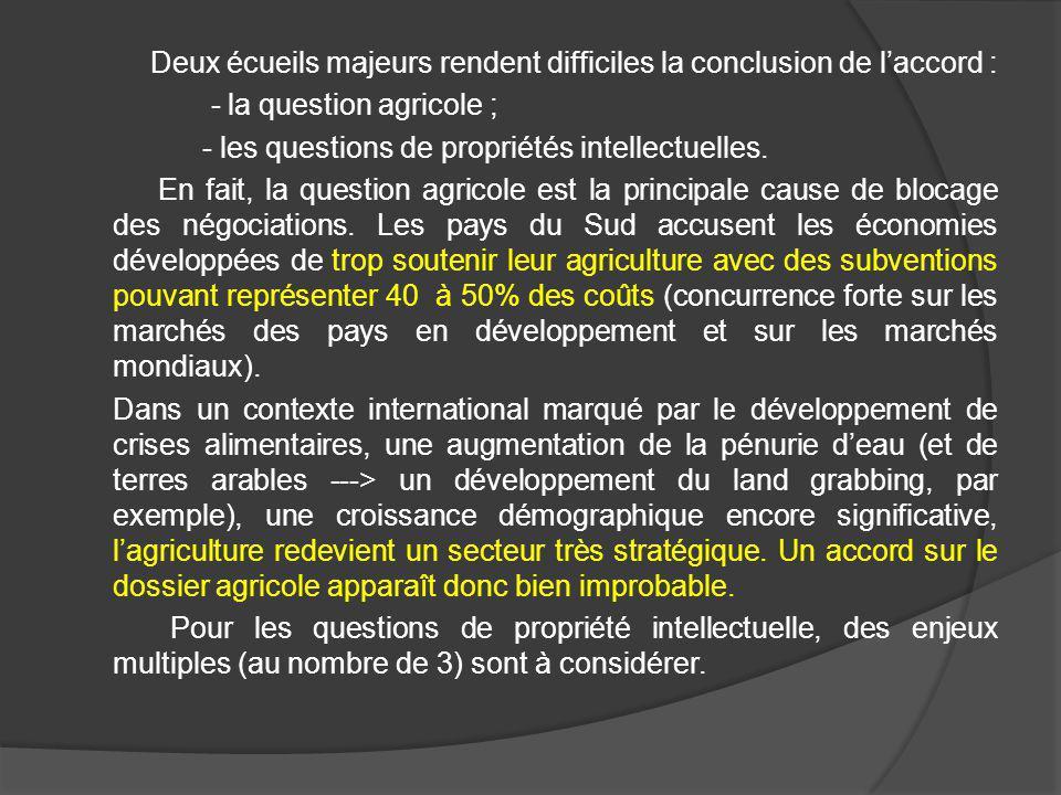 Deux écueils majeurs rendent difficiles la conclusion de l'accord : - la question agricole ; - les questions de propriétés intellectuelles.