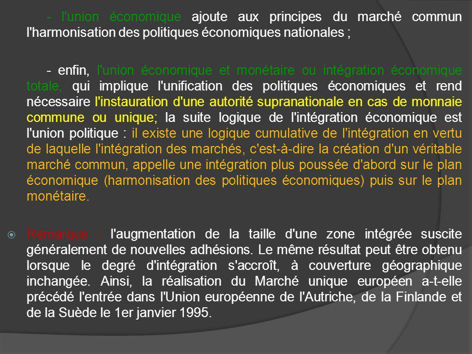 - l union économique ajoute aux principes du marché commun l harmonisation des politiques économiques nationales ;