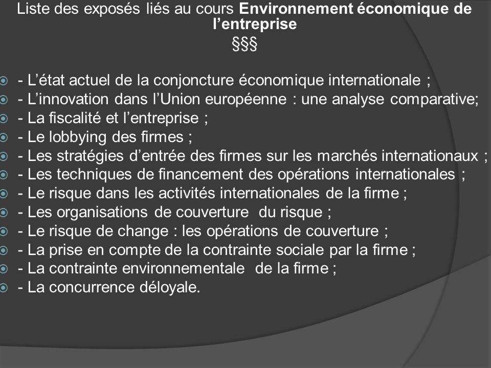 Liste des exposés liés au cours Environnement économique de l'entreprise