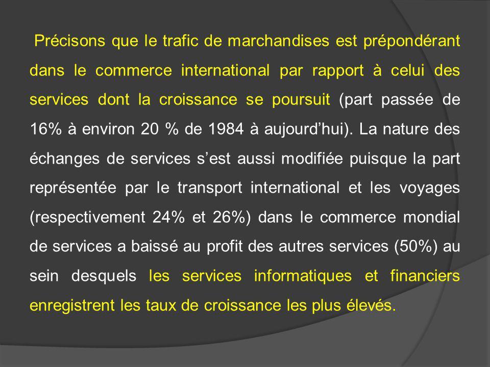 Précisons que le trafic de marchandises est prépondérant dans le commerce international par rapport à celui des services dont la croissance se poursuit (part passée de 16% à environ 20 % de 1984 à aujourd'hui).