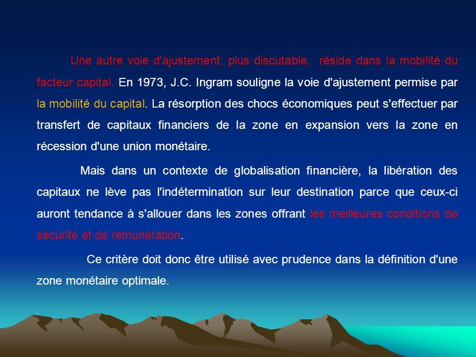 Une autre voie d ajustement, plus discutable, réside dans la mobilité du facteur capital. En 1973, J.C. Ingram souligne la voie d ajustement permise par la mobilité du capital. La résorption des chocs économiques peut s effectuer par transfert de capitaux financiers de la zone en expansion vers la zone en récession d une union monétaire.