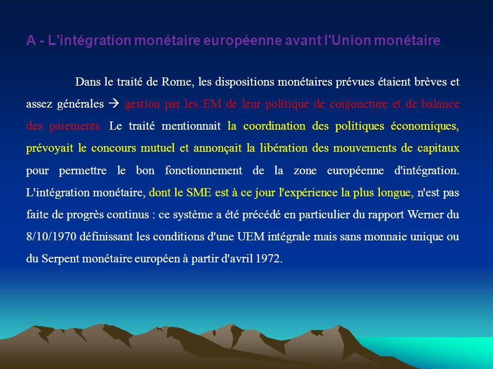 A - L intégration monétaire européenne avant l Union monétaire