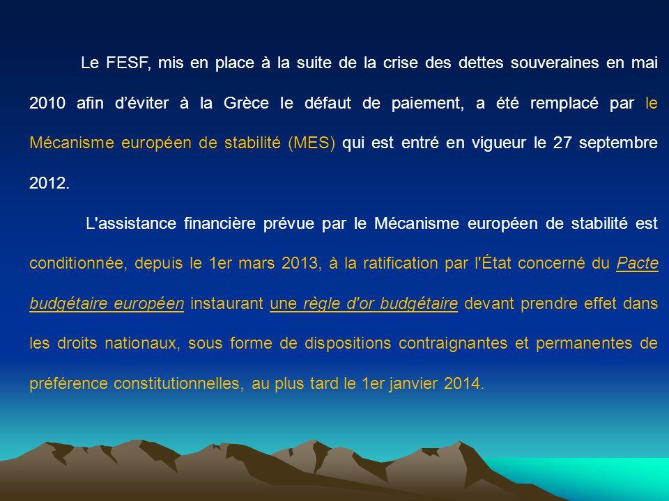 Le FESF, mis en place à la suite de la crise des dettes souveraines en mai 2010 afin d'éviter à la Grèce le défaut de paiement, a été remplacé par le Mécanisme européen de stabilité (MES) qui est entré en vigueur le 27 septembre 2012.