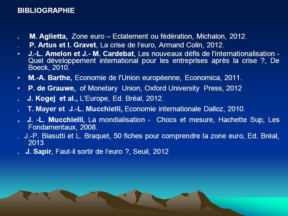 BIBLIOGRAPHIE . M. Aglietta, Zone euro – Eclatement ou fédération, Michalon, 2012.