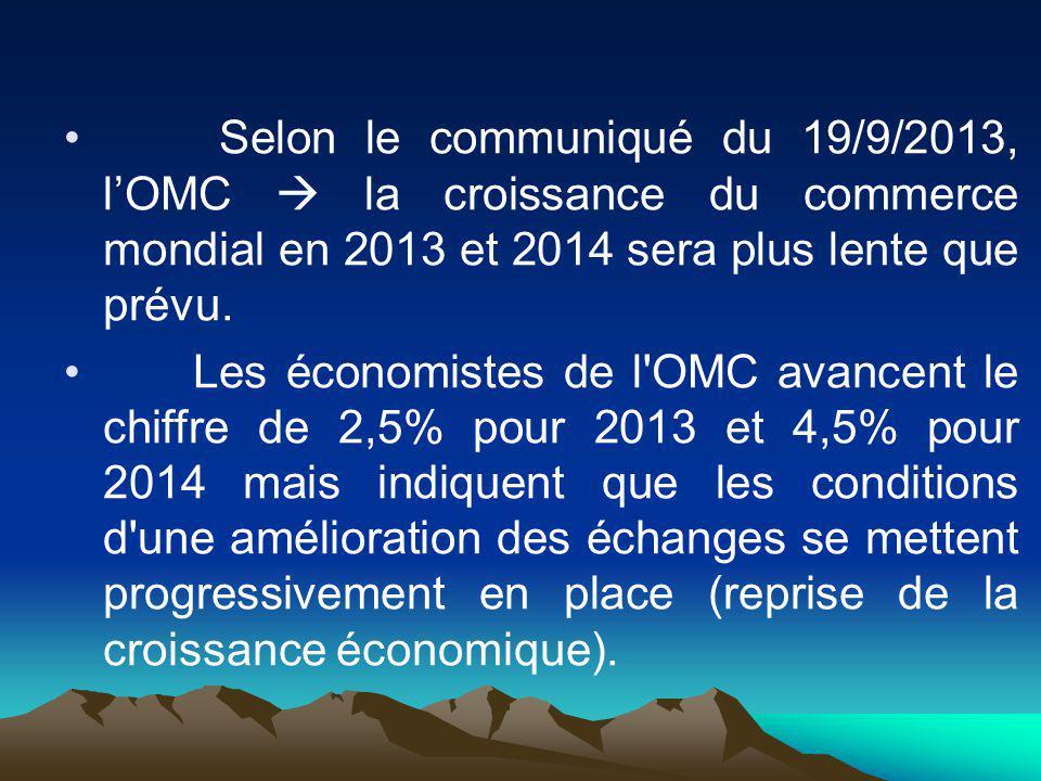 Selon le communiqué du 19/9/2013, l'OMC  la croissance du commerce mondial en 2013 et 2014 sera plus lente que prévu.