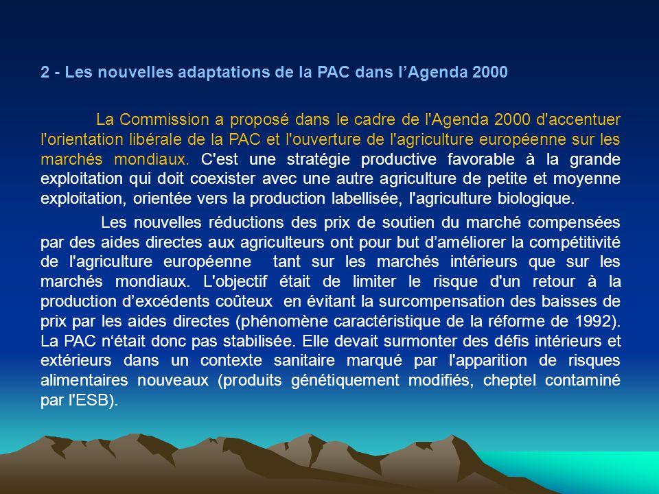 2 - Les nouvelles adaptations de la PAC dans l'Agenda 2000