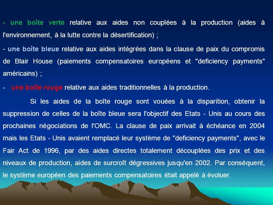 - une boîte verte relative aux aides non couplées à la production (aides à l environnement, à la lutte contre la désertification) ;