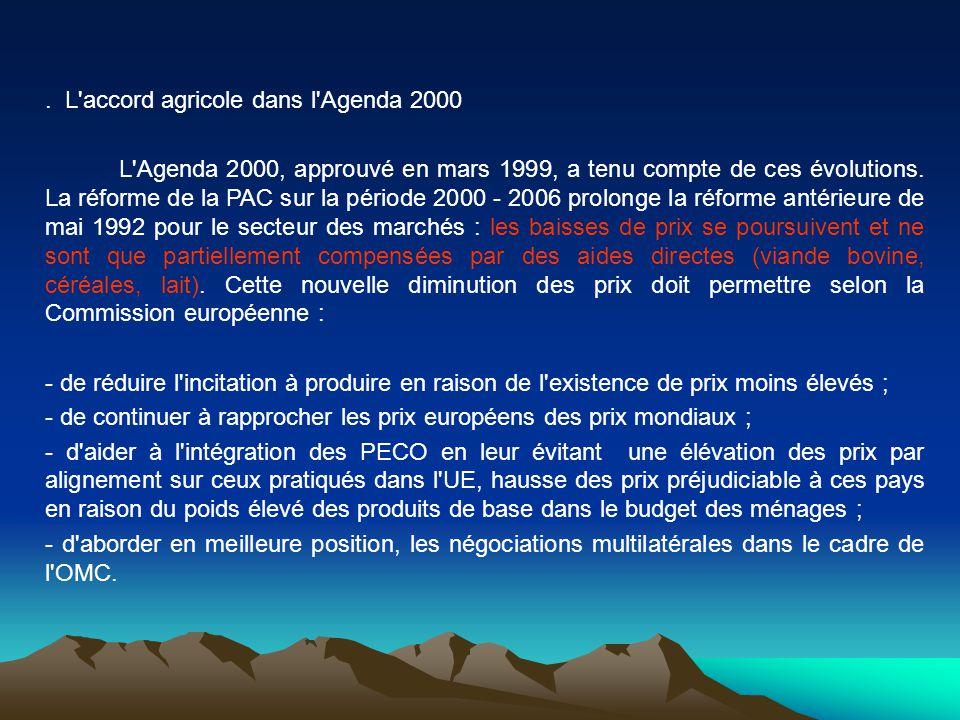 . L accord agricole dans l Agenda 2000