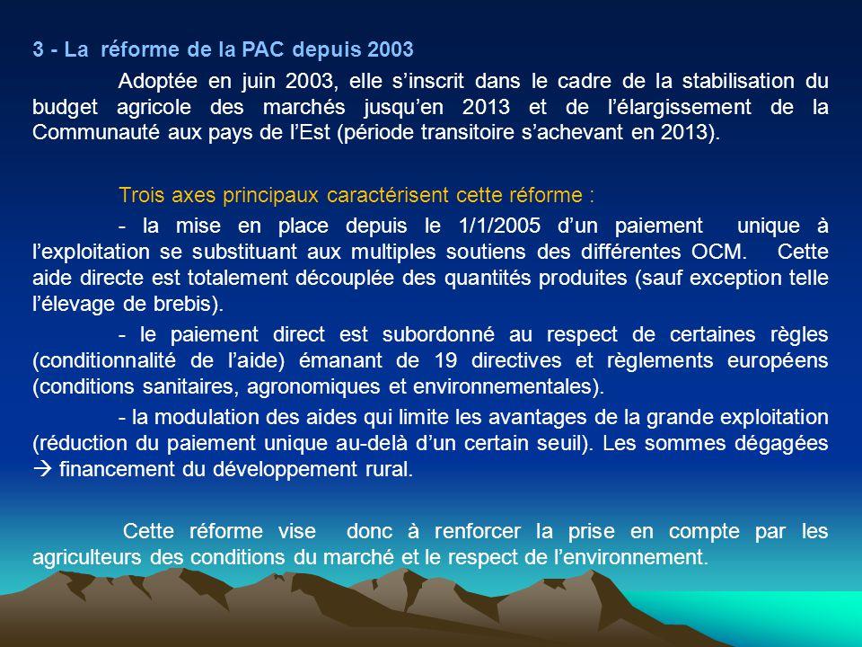 3 - La réforme de la PAC depuis 2003