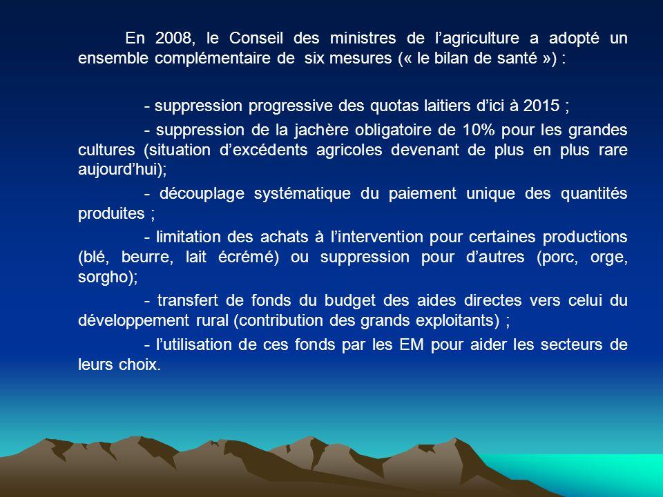 En 2008, le Conseil des ministres de l'agriculture a adopté un ensemble complémentaire de six mesures (« le bilan de santé ») :