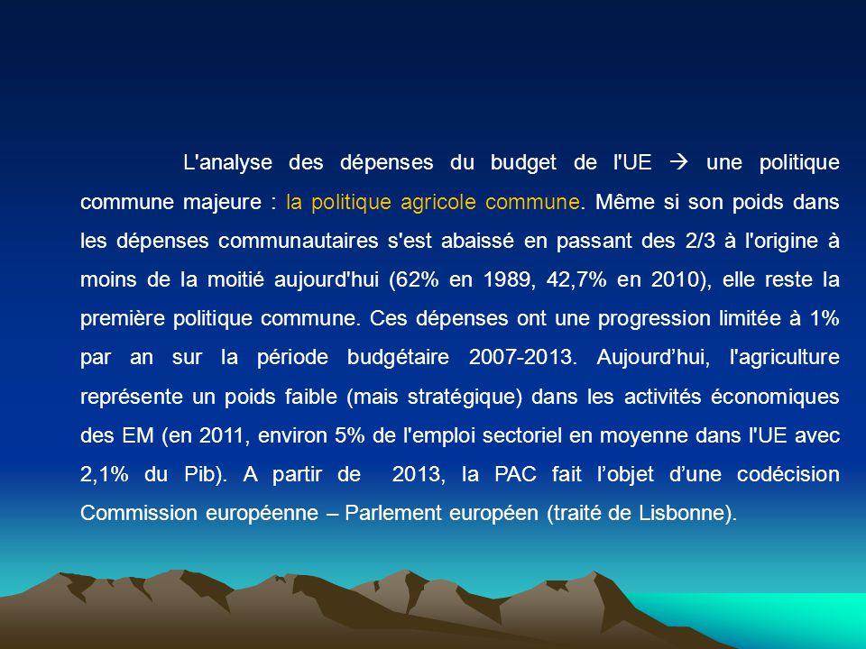 L analyse des dépenses du budget de l UE  une politique commune majeure : la politique agricole commune.
