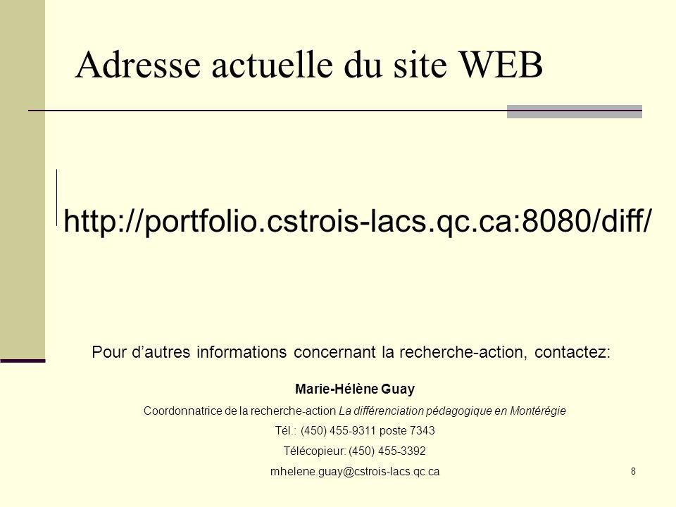 Adresse actuelle du site WEB