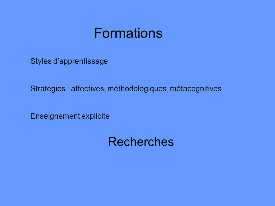 Formations Recherches Styles d'apprentissage