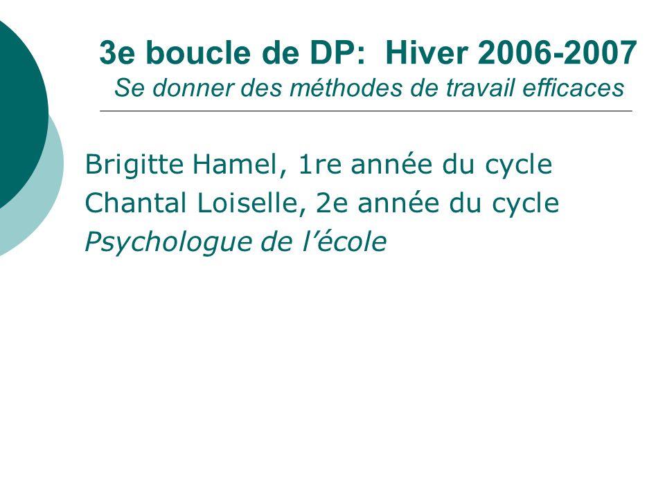 3e boucle de DP: Hiver 2006-2007 Se donner des méthodes de travail efficaces