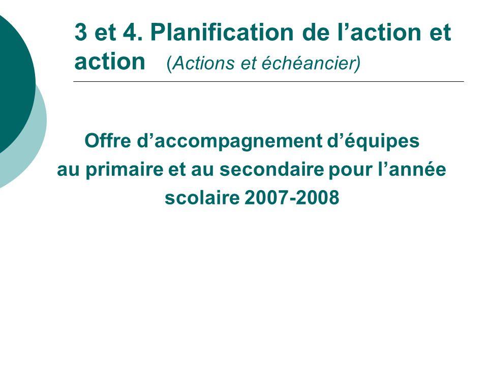 3 et 4. Planification de l'action et action (Actions et échéancier)