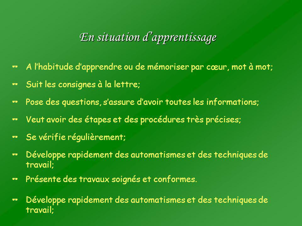 En situation d'apprentissage