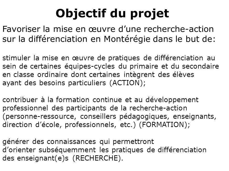 Objectif du projet Favoriser la mise en œuvre d'une recherche-action