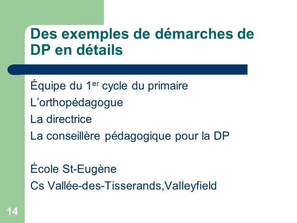 Des exemples de démarches de DP en détails