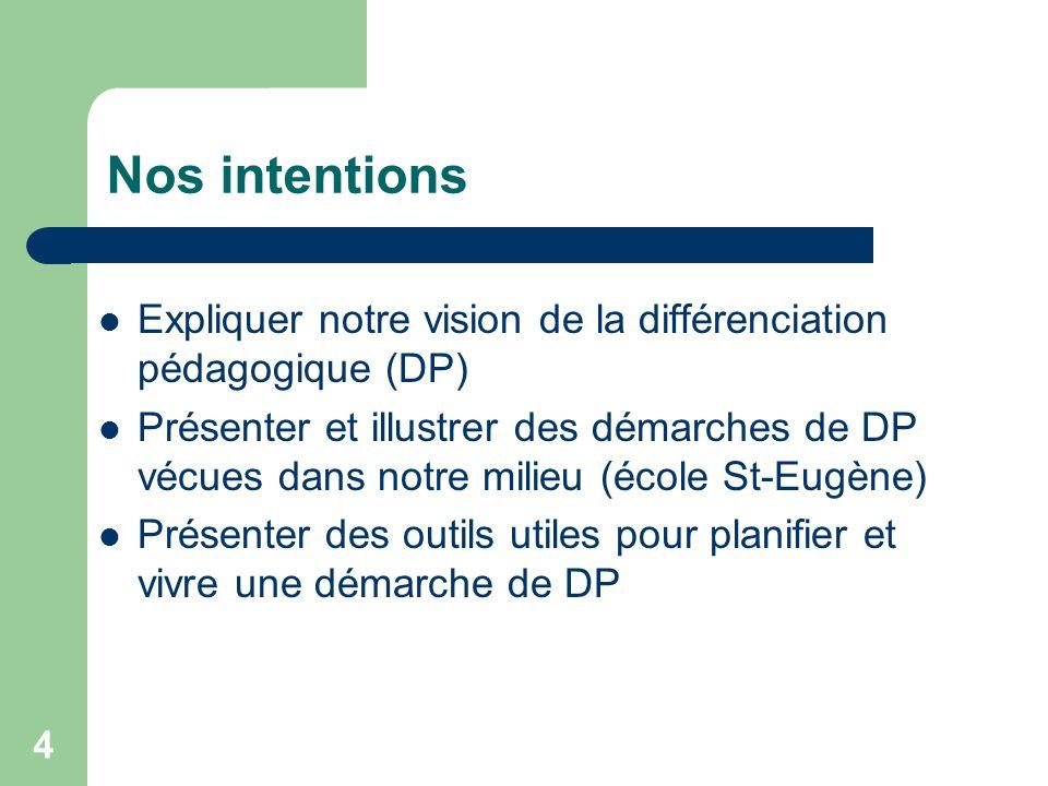 Nos intentions Expliquer notre vision de la différenciation pédagogique (DP)