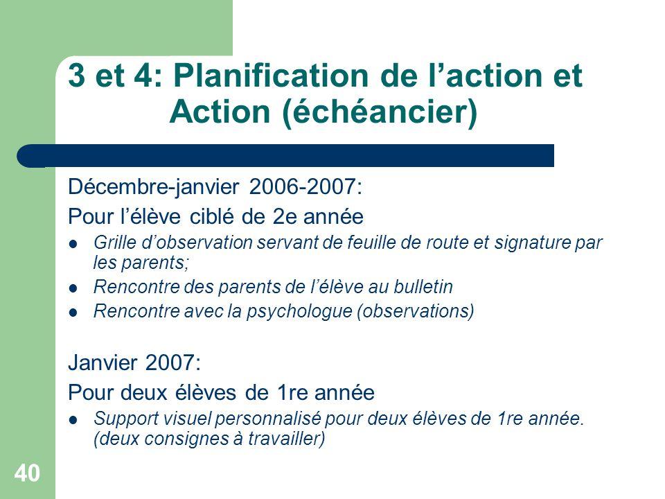 3 et 4: Planification de l'action et Action (échéancier)