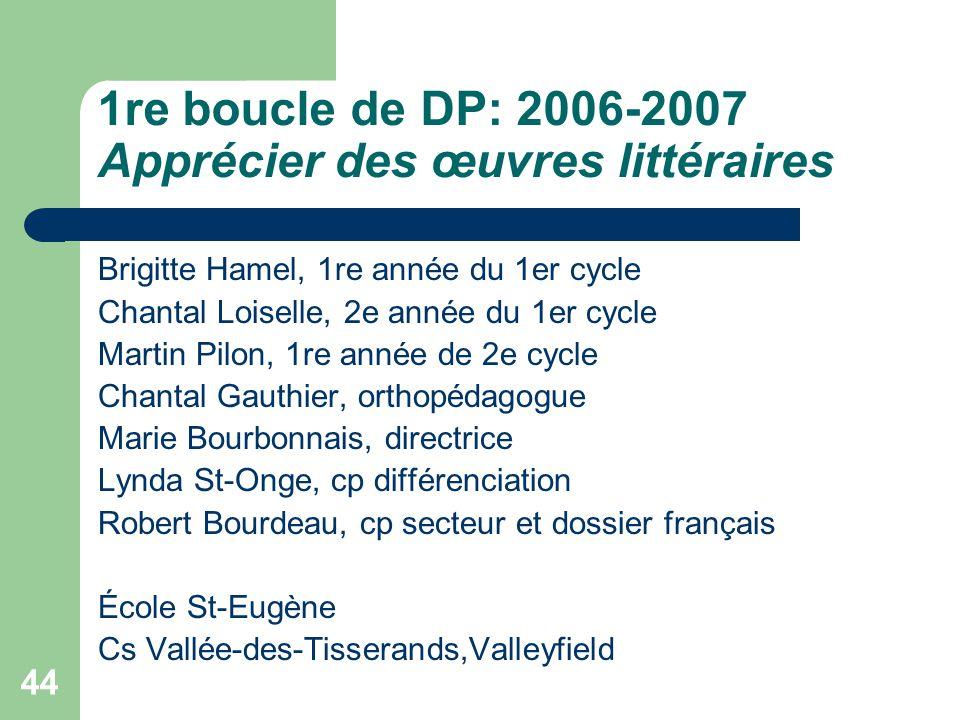 1re boucle de DP: 2006-2007 Apprécier des œuvres littéraires