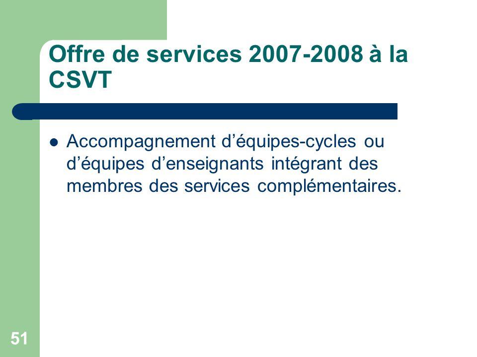 Offre de services 2007-2008 à la CSVT