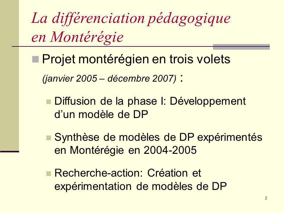 La différenciation pédagogique en Montérégie
