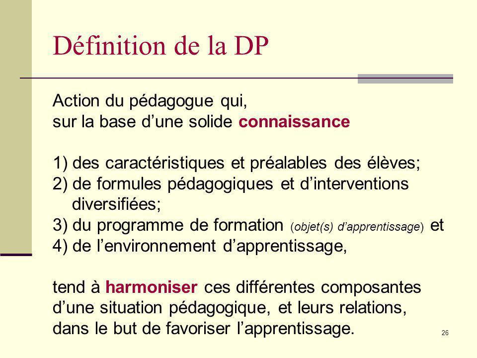Définition de la DP Action du pédagogue qui,