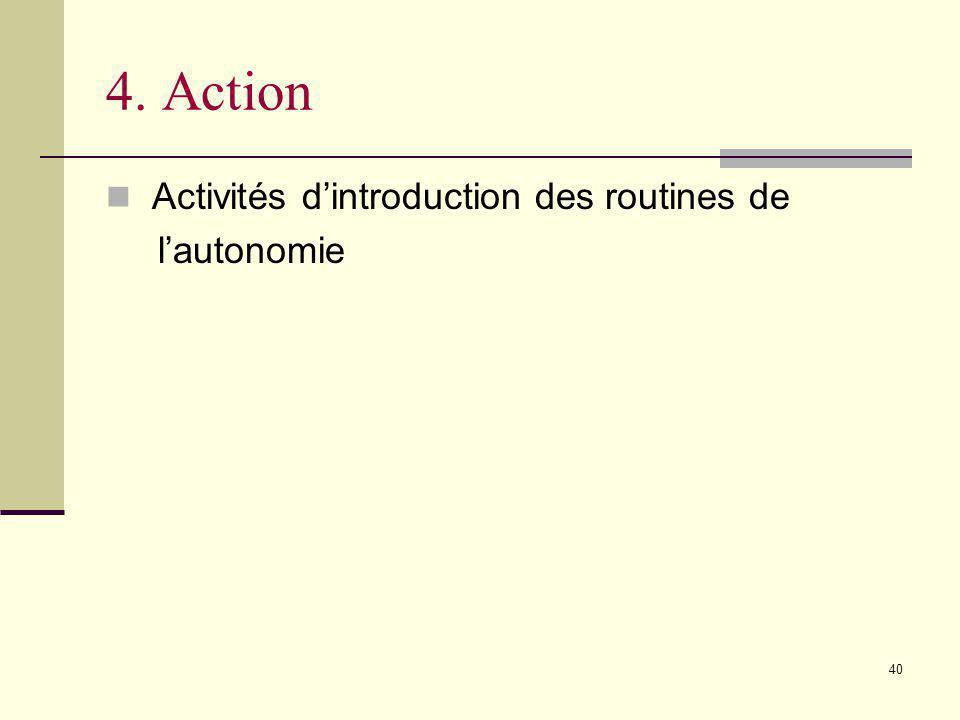 4. Action Activités d'introduction des routines de l'autonomie