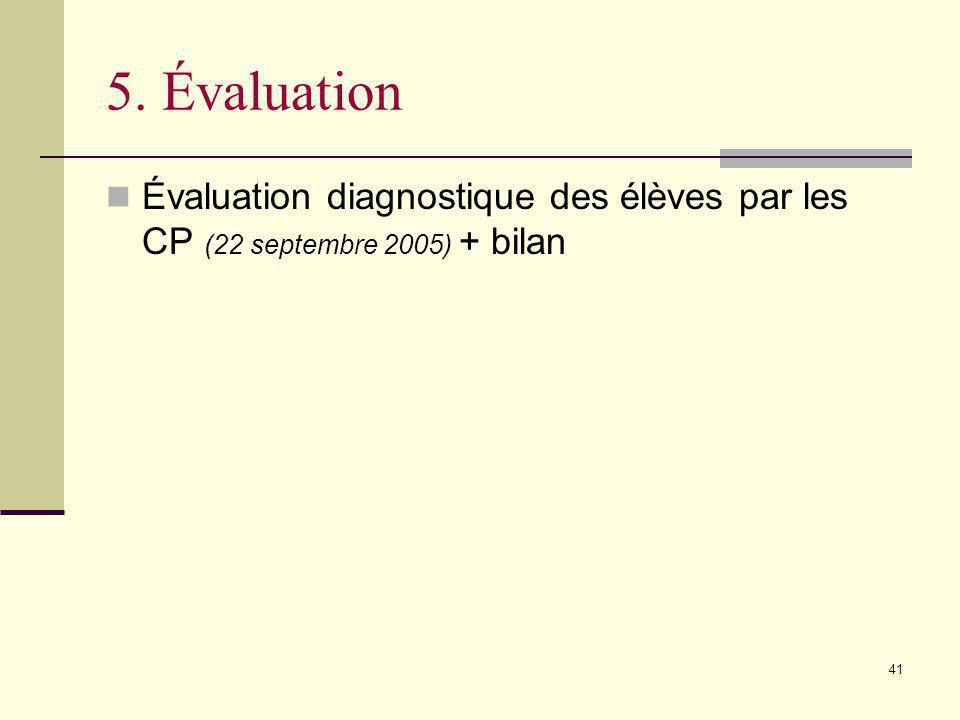 5. Évaluation Évaluation diagnostique des élèves par les CP (22 septembre 2005) + bilan