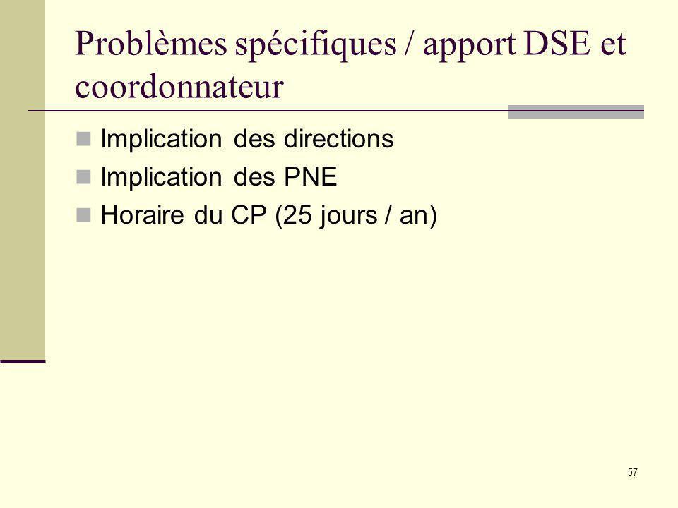 Problèmes spécifiques / apport DSE et coordonnateur