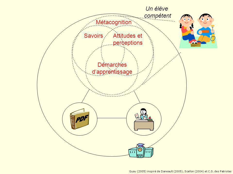 Attitudes et perceptions Démarches d'apprentissage Métacognition