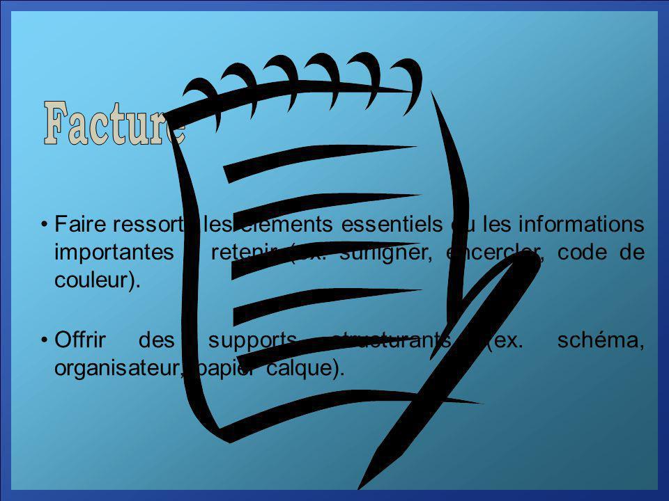Facture Faire ressortir les éléments essentiels ou les informations importantes à retenir (ex. surligner, encercler, code de couleur).
