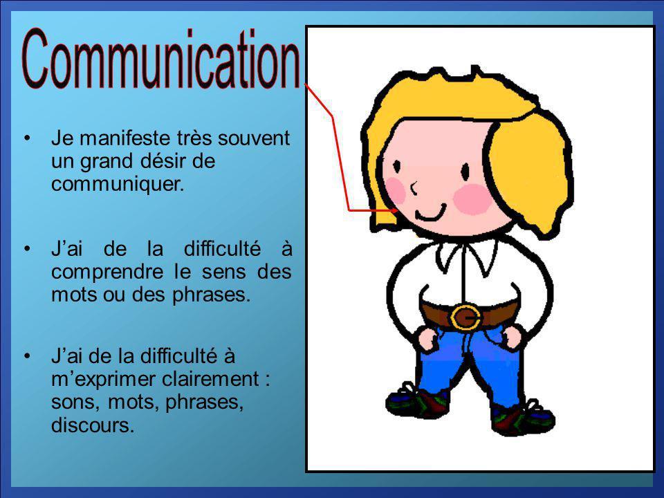 Communication Je manifeste très souvent un grand désir de communiquer.