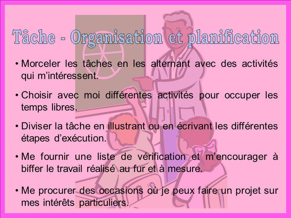 Tâche - Organisation et planification