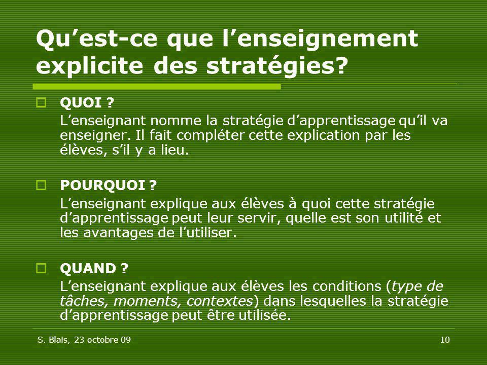 Qu'est-ce que l'enseignement explicite des stratégies