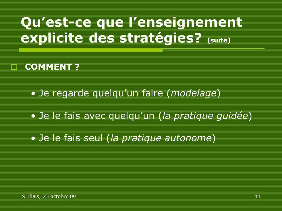 Qu'est-ce que l'enseignement explicite des stratégies (suite)