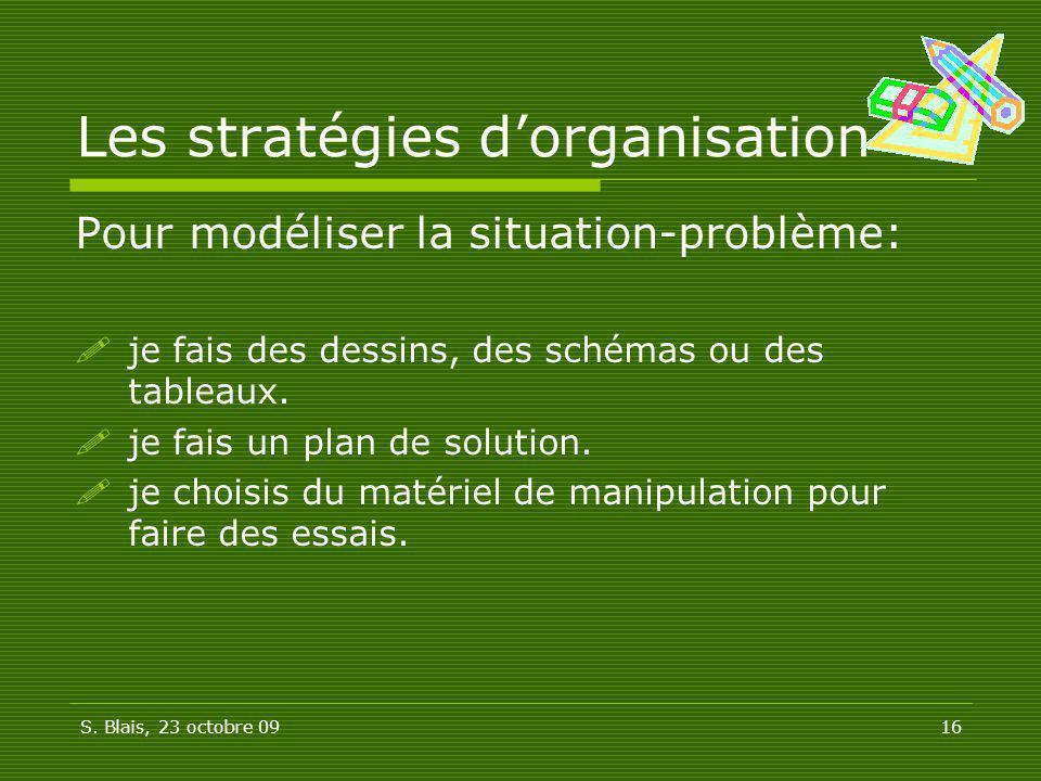 Les stratégies d'organisation